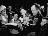 Senator Hubert H. Humphrey Signing Autographs For Youth During Campaigning For Democratic Primaries Premium Photographic Print by Stan Wayman