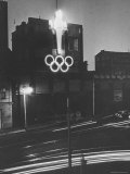 Neon Olympic Symbol in Melbourne Premium Photographic Print by John Dominis
