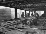 Workers During Construction of Seagrams Building Premium Photographic Print by Frank Scherschel