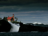 Eagle Harbor Lighthouse in Gale Force Winds Photographic Print