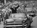 President Dwight D. Eisenhower and Kai Shek Chiang in Motorcade During His Eastern Good Will Tour Premium Photographic Print by Hank Walker