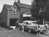 Steel Worker and His Family Washing Car Together Premium Photographic Print by Peter Stackpole