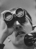Stock Brokers at Merrill Lynch Office Using Binoculars to Read Board Premium Photographic Print by Stan Wayman