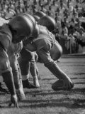 UCLA Football Line Shown in UCLA vs. Stanford Game Premium Photographic Print by George Silk