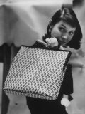 Model Displaying a Printed Leather Handbag Premium Photographic Print by Gordon Parks