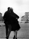 Romantic Couple Walking on the Odeonsplatz Photographic Print by Walter Sanders