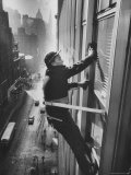 Window Cleaners Cleaning High Rise on Madison Avenue Premium Photographic Print by Walter Sanders