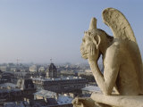 Gargoyle and Views of Paris from Notre Dame Photographic Print by Richard Nowitz