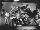 Tank Scene with Barbara Nichols and Enthusiastic College Boys Premium Photographic Print by J. R. Eyerman