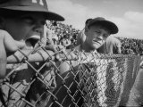 Young Fans Standing at Fence Which Borders Field at World Series Game, Braves vs. Yankees Premium Photographic Print by Grey Villet
