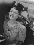 Woman Wearing Wide Shoulder Fashion Look Premium Photographic Print by Nina Leen