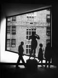 Viewing Abstract Art Through Unusually Shaped Window at Whitney Museum Premium Photographic Print by Bob Gomel