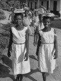 School Children Walking Home from Class Premium Photographic Print by Mark Kauffman