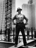 Structural Steel Worker Standing on a Girder Premium-Fotodruck von Grey Villet