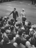 Vice President Richard M. Nixon and Wife Greeting the Crowd as They Arrive For the GOP Convention Premium Photographic Print by Hank Walker