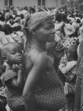 Mother Carrying Her Child During Evangelist Billy Graham's African Crusade Premium Photographic Print by James Burke