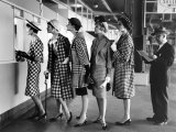 Models Wearing Checked Outfits, Newest Fashion For Sports Wear, at Roosevelt Raceway Premium Photographic Print by Nina Leen