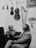 People Listening to Mozart on Headphones in New Ultra Modernistic Library Premium Photographic Print by Al Fenn