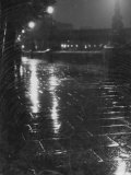 Rainy Wet Sidewalk at Night, London Premium Photographic Print by Emil Otto Hoppé
