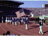 US Team Marching Into the Stadium During the Opening Ceremonies of the Summer Olympics Premium Photographic Print by John Dominis