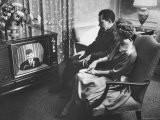 Vice President Richard M. Nixon and His Wife Watching the GOP Convention on TV in Their Hotel Suite Premium Photographic Print by Hank Walker