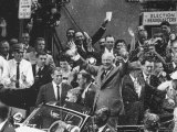 President Dwight D. Eisenhower in Rain of Confetti as He Motorcades Down the Streets Premium Photographic Print by Hank Walker