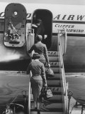 Stewardesses Arriving For Flight Premium Photographic Print by Peter Stackpole