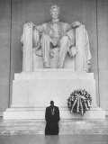 Reverend Daniel Wahl Praying at Lincoln Memorial Premium Photographic Print by Paul Schutzer