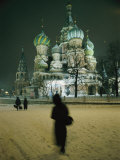 An Evening View of Saint Basils Cathedral in Red Square Photographic Print by Jodi Cobb