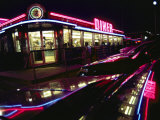 Late-Night View of the Bright Neon of the Roadside Diner Photographic Print by Stephen St. John