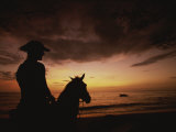 Horseback Rider Silhouetted on a Beach at Sunset, Costa Rica Photographie par Michael Melford