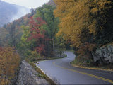 Autumn View of a Road Winding Through Goshen Pass, Virginia Photographic Print by Medford Taylor