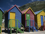 Colorful Changing Huts Line a South African Beach on the Cape Photographic Print by Tino Soriano