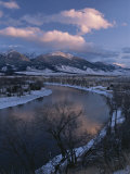 Scenic Twilight View of the Yellowstone River and Paradise Valley Photographic Print by Tom Murphy