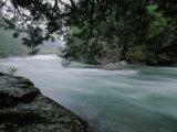 Mc Donald Creek Rushes Past Rocks and Hemlock Photographic Print by Raymond Gehman