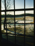 View Looking out Through a Window at a Horseback Rider Fotografisk trykk av Sam Abell