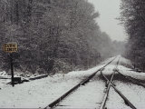 Snow Blanketed Railroad Tracks, Courtland, Virginia Photographic Print