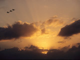 Three U.S. Navy F-185 Jets Silhouetted against the Evening Sky Photographic Print by Medford Taylor