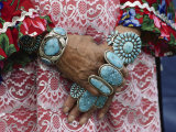 Heirloom Rings and Bracelets Lie Thick on the Arms and Hands of a Zuni Woman Fotografisk tryk af Joseph H. Bailey