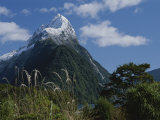 Mitre Peak in Milford Sound with Puffy White Clouds Photographic Print by Todd Gipstein