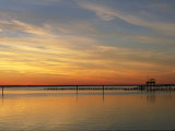 Distant View of Fishing Pier at Twilight Photographic Print by Steve Winter
