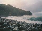 Waves Crash on a Pebble Beach Photographic Print by Sisse Brimberg