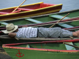 Tour Boat Guide Naps in Rowboats on Li River, Guilin, Guangxi, China Photographic Print by Raymond Gehman