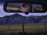 An Old Truck and Barn are Reflected in a Rear-View Mirror Photographic Print by Joel Sartore