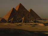 Giza Pyramids from Left- Kings Menkure, Khafre and Khufu Photographic Print by Kenneth Garrett