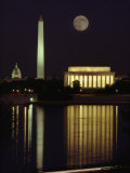 Moonrise over the Lincoln Memorial Photographic Print by Richard Nowitz