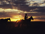 A Cowboy and His Horses Silhouetted against the Evening Sky Photographic Print