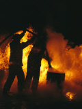 Firefighters Are Engulfed in Flames during Practice Photographic Print by Stephen Alvarez