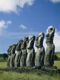 Row of Moai under a Clouded Sky Photographic Print by Richard Nowitz