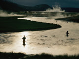 Fishermen in Yellowstone River Surrounded by Geothermal Activity Photographic Print by Randy Olson